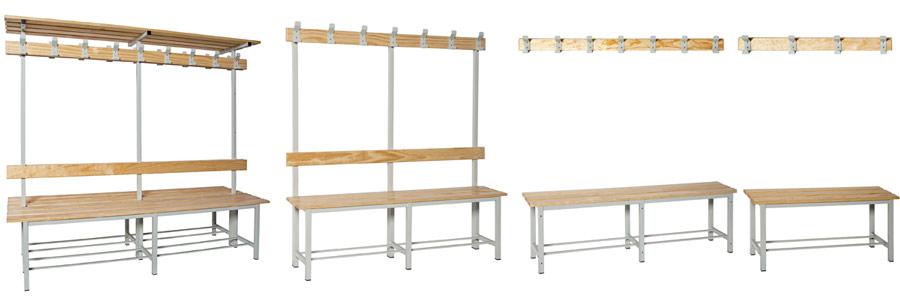 Bancos de madera para vestuarios